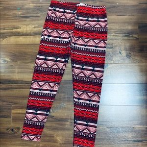 Cute Boho Ugly Christmas Sweater Leggings SZ XL